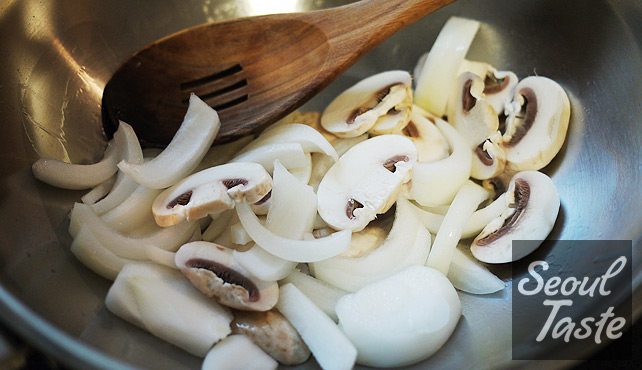 Start with cooking mushroom and onions