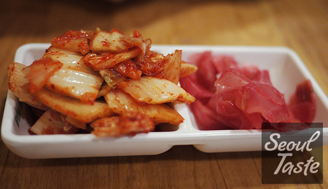 Side dishes: kimchi and pickled ginger